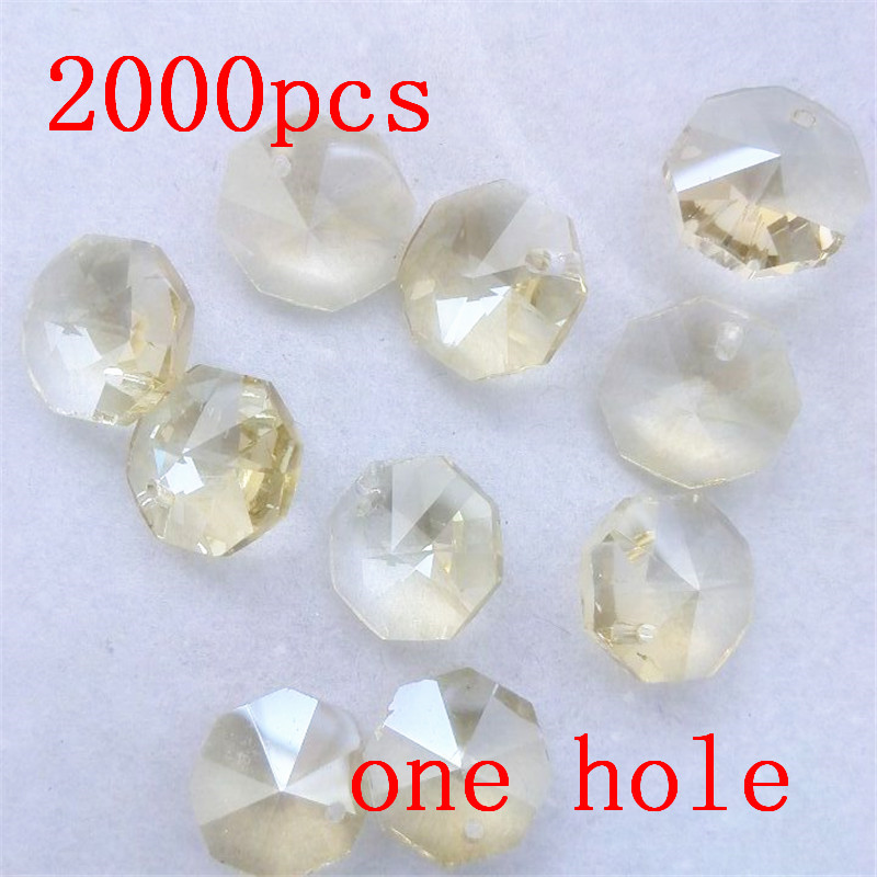 Big Quantity 2000pcs 14mm Crystal Octagon Beads 1 Hole Cognac Lamp Chandelier Parts Suncatcher Prism Diy Making Kids Room Gifts