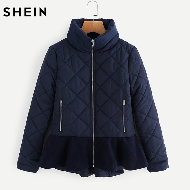 SHEIN Navy Stand Collar Ruffle Hem Quilted Coat Autumn Womens ... : quilted ladies coat - Adamdwight.com