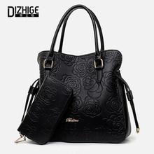 Print Rose PU Leather Bags For Women Handbags Designer Purses And Handbags Ladies Shoulder Bag Luxury Hand Bag Feminina Sac