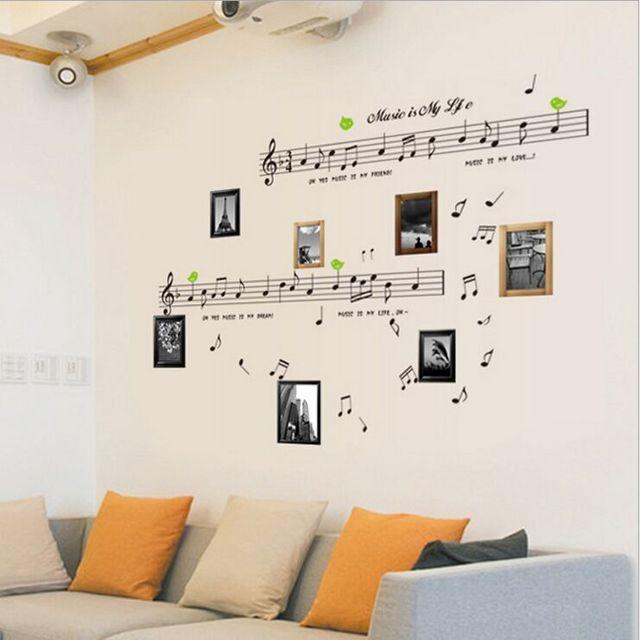 Gratis verzending Personeel Notes Muziek Klaslokaal Kleuterschool Piano Instrument Kinderkamer Muurstickers Home Decor Muurschildering Decal