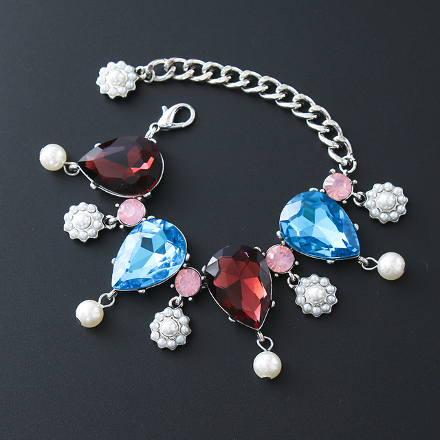 Fashion big blue purple with crystal charm bracelet silver fashion big blue purple with crystal charm bracelet silver imitation pearl pendant bracelet for woman aloadofball Image collections