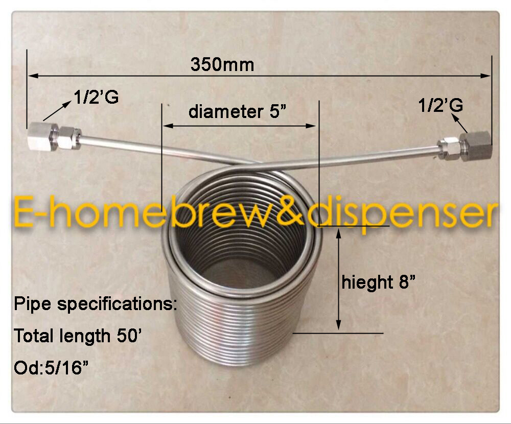 50' Stainless Steel Coil 5' Diameter double layer beer coil for your - Kitchen, Dining and Bar - Photo 2