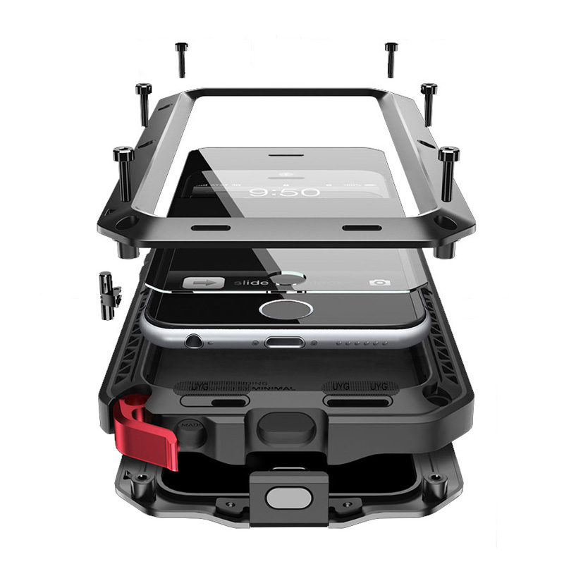 Waterproof case for <font><b>iphone</b></font> 7 case metal for <font><b>iphone</b></font> 6 cover luxury Doom armor shockproof Full protective case with Tempered glass