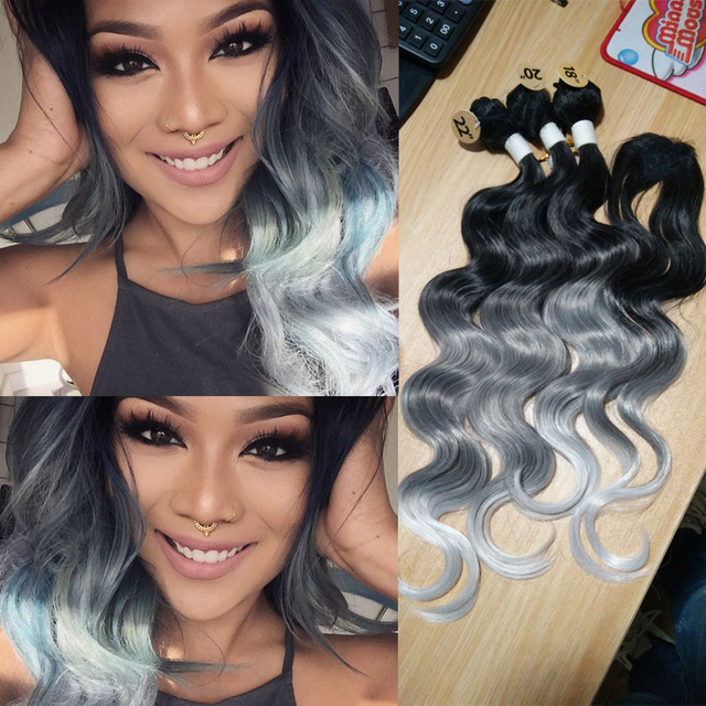 Synthetic Hair Weave With Closure 3 Tone Grey Body Wave Hair Weave Bundles 3pcs Synthetic Hair Extension With one Closure