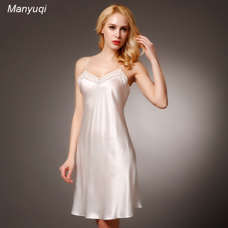 Silk Gowns For Women: 100% Pure Silk Women's Stain Nightgown Lace Chest Sexy