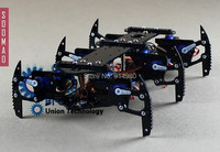 DIY siyah örümcek robot hexapod robot kiti toplu, oyuncak, direksiyon dişli + PMMA raf + Aron AA Super Glue