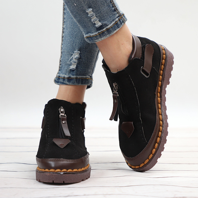 Image 2 - MCCKLE Women Ankle Boots Spring Plus Size Female Short Booties Platform Retro Nebuck Fashion Zipper Casual Woman's Shoes-in Ankle Boots from Shoes