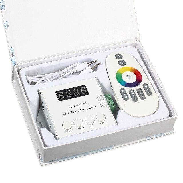 DC5V-24V WS2812 magique LED bande numérique coloré musique X2 contrôleur avec télécommande tactile RF