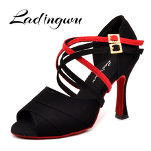 Ladingwu Latin dance shoes women NEW Black/Red Flannel Shoes Dance Red Soft Bottom Cuba high heel 6-10cm Salsa Ballroom dancing
