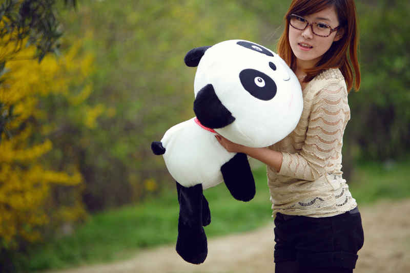 ФОТО about 70cm lying panda plush toy smile panda doll throw pillow birthday gift  w6713