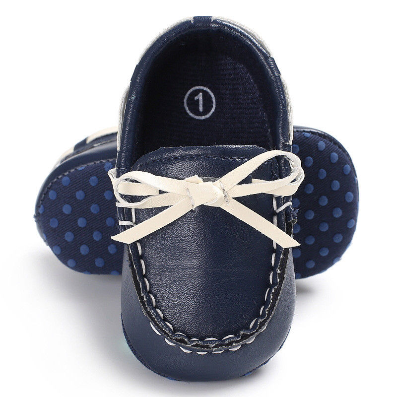 New Newborn Kids Baby Girls Soft Sole Leather Crib Shoes Anti-slip Bow Prewalker Leather Shoes 0-18M