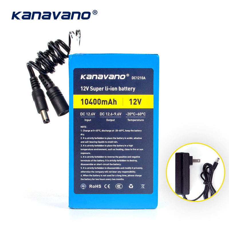 Kanavano Best <font><b>12v</b></font> <font><b>10AH</b></font> 10400mAh <font><b>battery</b></font> pack <font><b>lithium</b></font> ion camera <font><b>battery</b></font> with 12.6V 1A charger eu / us plug Free shopping image