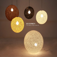Подвесной светильник Минималистский стиль светильники, фонари Гостиная Подвесные лампы освещения плетеная из ротанга сада мяч