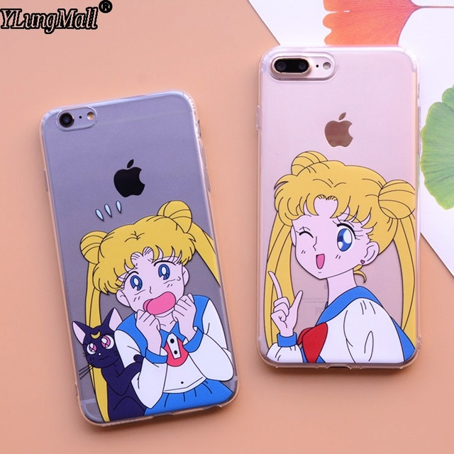new arrivals 34ad9 5e714 US $2.19 |Korea Cartoon Sailor Moon Lovely Luna Cat Silicone Case Cover For  iPhone 8 7 Plus 6 6S 6 Plus X Soft Flexible Clear TPU Cases-in Fitted ...
