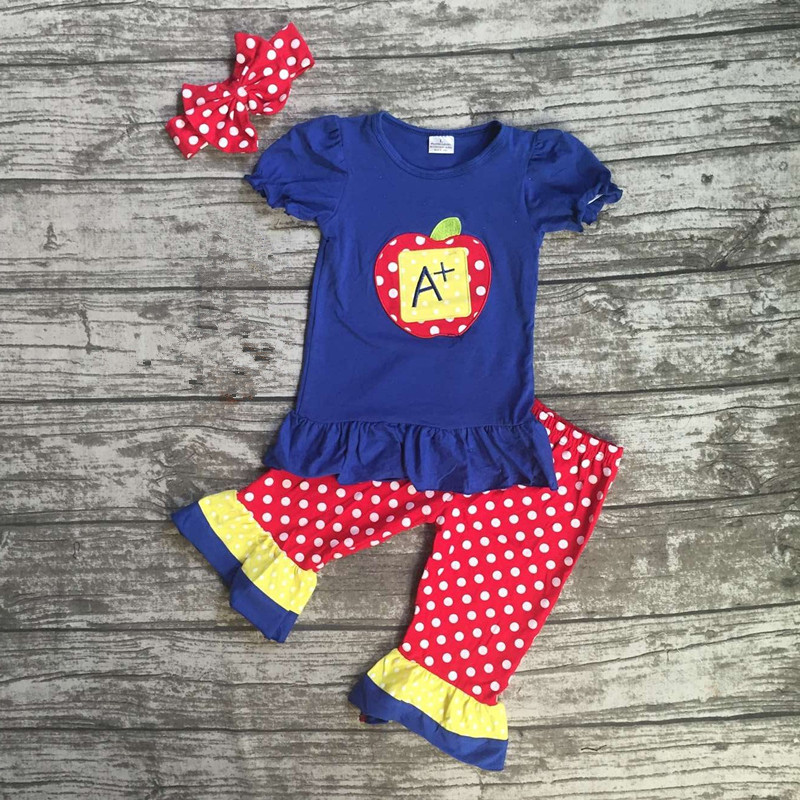 baby girls boutique clothing girls back to school A plus outfits children polka dot capri pants clothes with match headband kids clothes girls boutique clothing girls back to school outfits girls summer outfits with matching headband