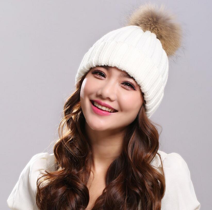 2017 New Casual Hat Female Classic Knitted Mink Fur Pom Poms Women Cap Warm Women' Winter Hats   Skullies     Beanies