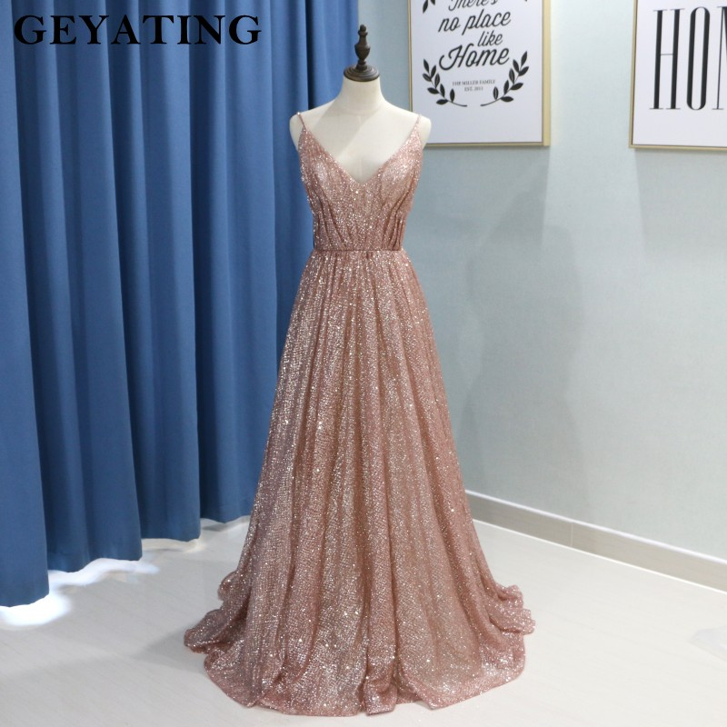 2d52b31e63 Mouse over to zoom in. Glitter Rose Gold A Line Prom Dresses 2K19 Sparkly  Spaghetti ...
