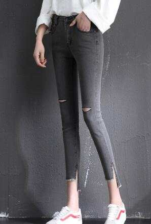 US $17.4  Slim Grey Skinny Jeans Women Stretch Plus Size Denim Jeans Jeggings Ripped Hole Jeans Push Up High Waist Denim Pencil Irregular in Jeans
