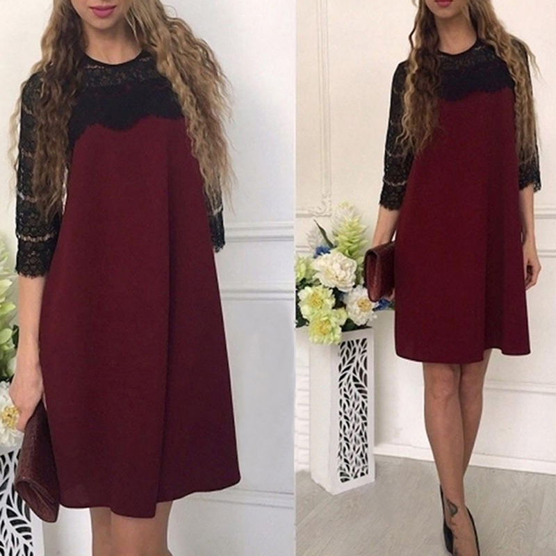 Women Summer Casual O-neck Lace Stitching Straight Dress Fall Loose Patchwork Three Quarter Sleeves Dresses 4 Colors