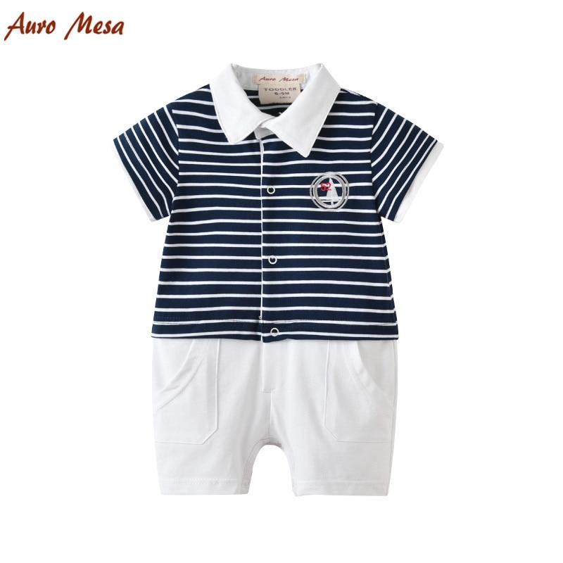 Auro Mesa dryžuotas kūdikių romper vasaros kūdikių drabužiai Naujagimio bebe apranga Medvilniniai kūdikių kostiumai