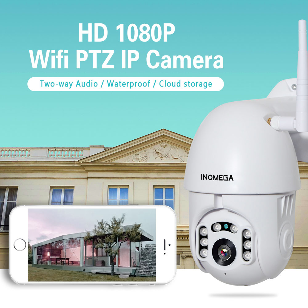 INQMEGA 1080 P Wifi caméra IP sans fil Auto TrackingPTZ vitesse dôme CCTV IR Onvif caméra de Surveillance de sécurité extérieure H.264 IR 50