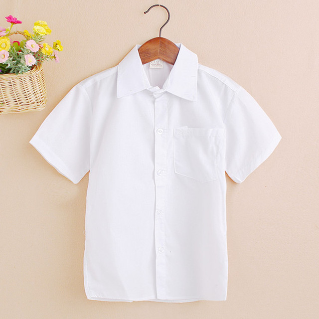 89568272bb8c4 4-12 Y 2017 New Arrival Summer Short Sleeve Baby Clothes White School Boys  Shirts Turn-down Collar Boy Shirt Kids Tops JW0190