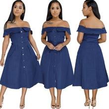Summer Sexy Off Shoulder Denim Dress Women 2019 Casual Loose Female Jean Plus Size Slim Ruffle Feminino