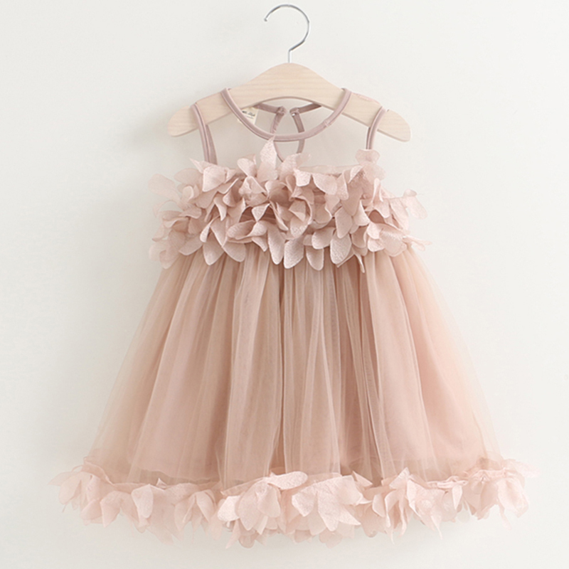 Menoea Cute Girls Dress 2018 New Summer Mesh Girls Clothes Pink Applique Princess Dress Children Summer Clothes Baby Girls Dress