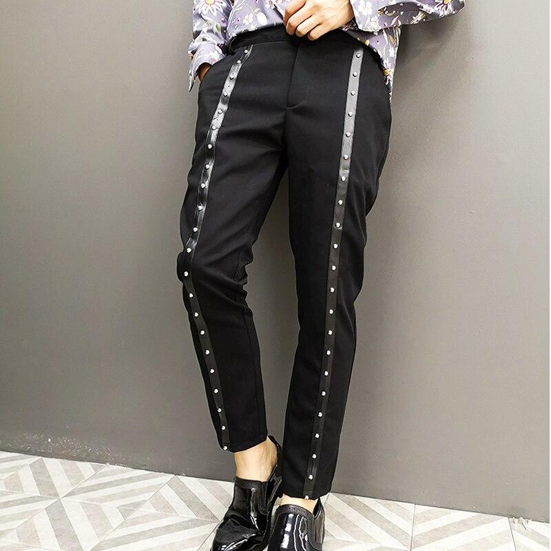 Fashion Rivet Pencil Trousers Night Club Singer Stage Clothing Men Streetwear Hip Hop Punk Gothic Casual Black Harem Pants Male