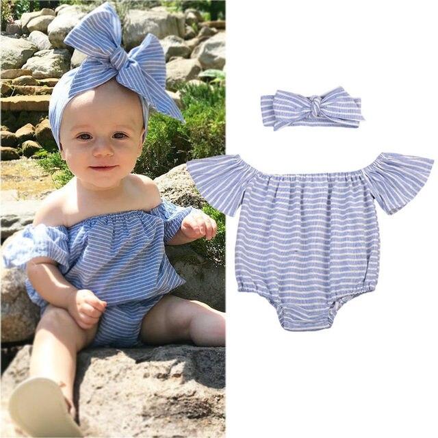 2pcs Newborn Infant Baby Girls Clothes Fly Sleeve Blue Bodysuit Tops