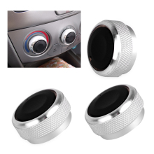 beler New 3pcs Silver Car Air Conditioning Control AC Switch Knob Alloy Decorations Fit for Toyota Vios 2002 2003 2004 2005 2006