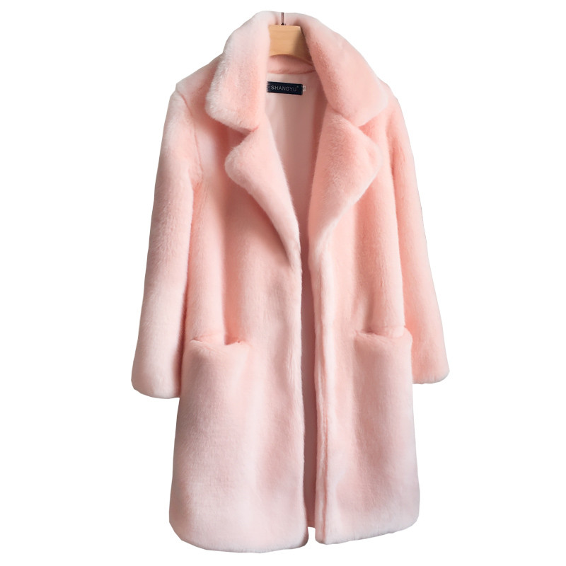 New <font><b>Faux</b></font> <font><b>Mink</b></font> <font><b>Fur</b></font> <font><b>Coat</b></font> Women 2019 Autumn Winter Thick Warm <font><b>Fur</b></font> Jackets Female Fashion Pink White <font><b>Mink</b></font> <font><b>Fur</b></font> <font><b>Coats</b></font> Plus size A2455 image