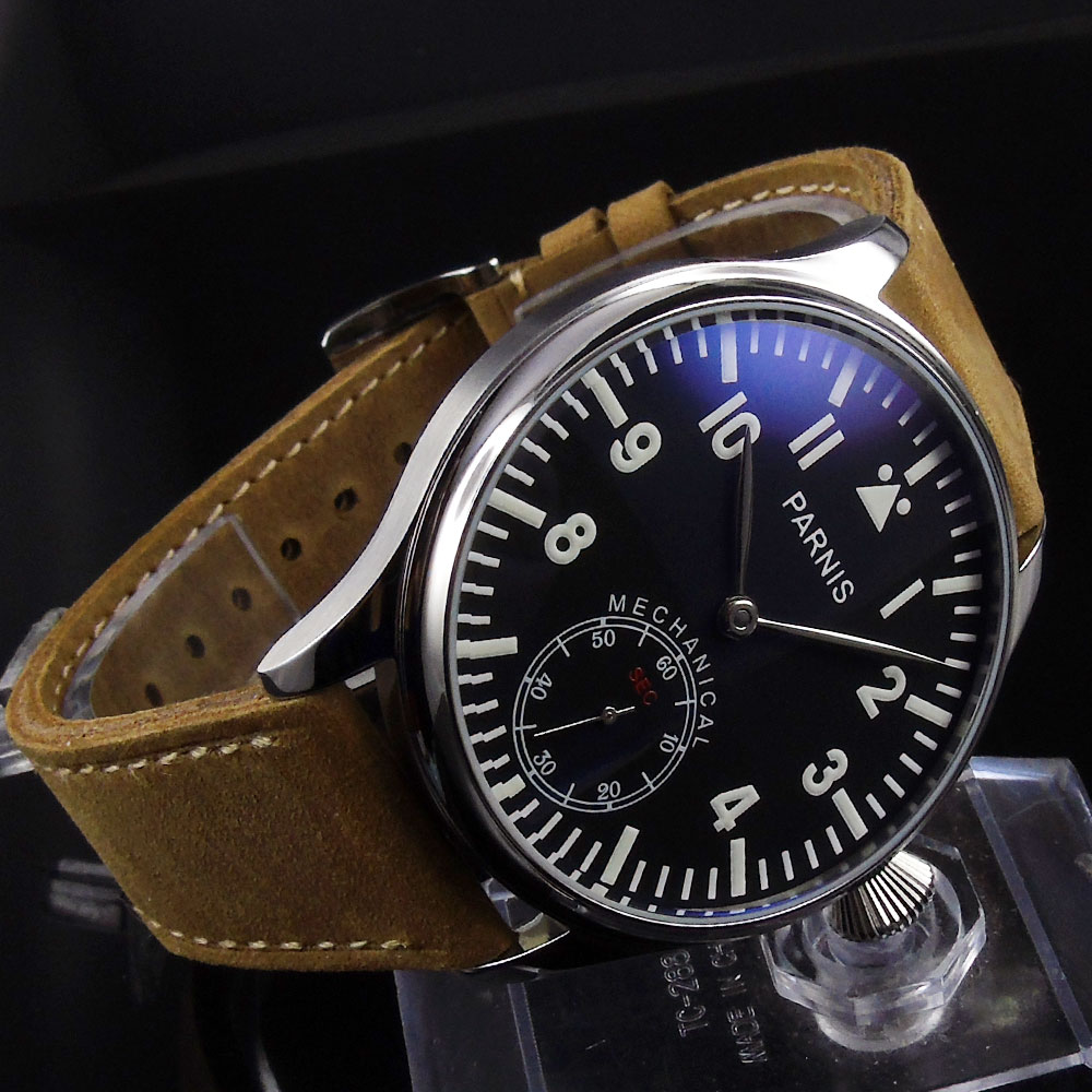 Sweet gifts 44mm parnis Black Dial Silver Hands Luminous Marks leather strap 17 jewels 6498 Hand Wind Mechanical mens WatchSweet gifts 44mm parnis Black Dial Silver Hands Luminous Marks leather strap 17 jewels 6498 Hand Wind Mechanical mens Watch