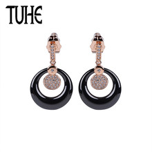 Fashion 585 Rose Gold Crystal Ceramic Earrings Black Color For Women Drop Earrings Double Layer Hollow Round Jewelry Best Gifts(China)