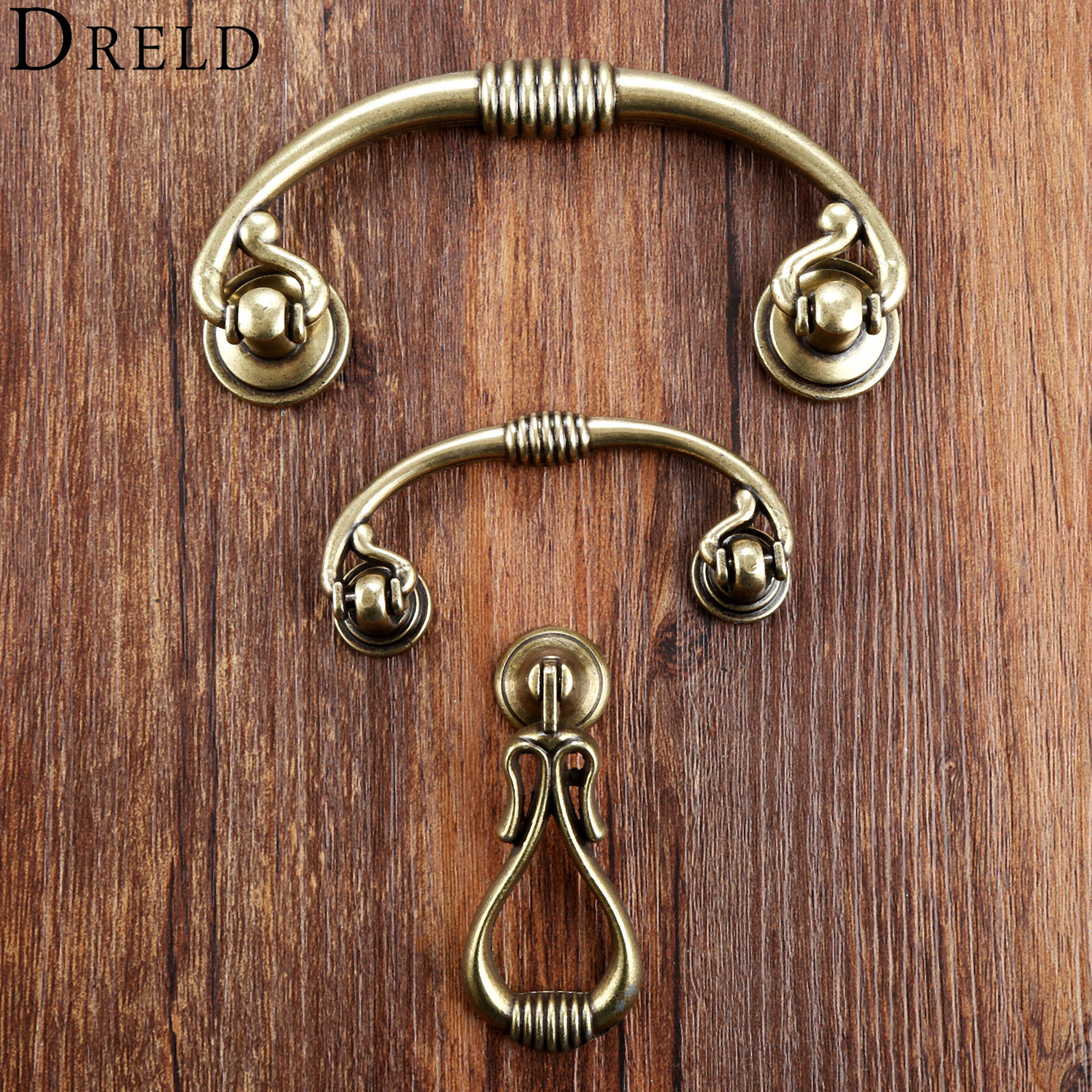 DRELD 2018 Antique Furniture Handles Cabinet Knobs and Handles Drawer Door Pull Cupboard Handle Kitchen Knob Furniture Fittings 1 pair 96mm vintage furniture cupboard wardrobe handles and knobs antique bronze alloy kitchen cabinet door drawer pull handle