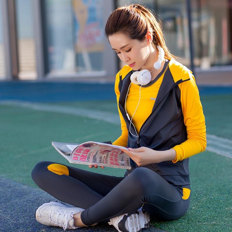 Yoga ensemble femmes Yoga vêtements noir Sport soutien gorge + pantalon + t shirt + manteau 4 pièces Fitness course Sport costume Gym vêtements Sportswear - 4