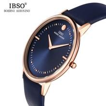 IBSO 7.5 MM ultra-delgada Para Hombre Relojes de Primeras Marcas de Lujo Azul de Cuero Genuino Correa de Reloj de Cuarzo de Los Hombres 2017 de La Moda Relogio masculino