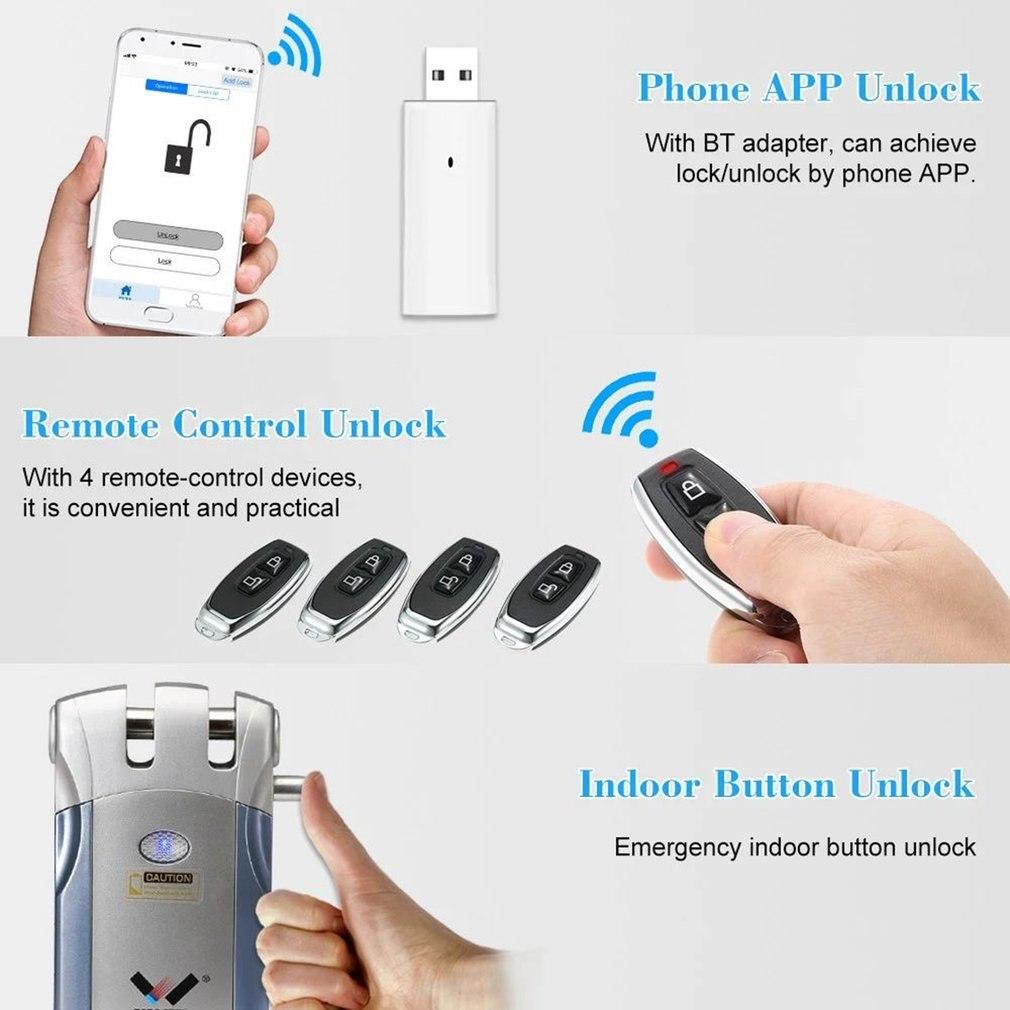 Wafu WF-018 Control remoto inalámbrico cerradura inteligente electrónica cerradura de puerta sin llave 4 controladores remotos perno muerto con alarma incorporada - 6