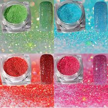 1 Jar Gold Holographic Glitter Shimmering Powder Green Blue Pink Red Pigment Dust Nail Art Decoration DIY Salon Tip H#(China)