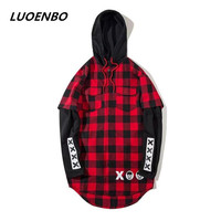 printed Flannel plaid round Bottom with Man's shirt 2018winter red Hoodie gray patchwork Fake Two piece Set head cap Men's shirt