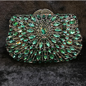 green Crystal Clutch Evening Bag Wedding Party Box Handbag and Purse Women cocktail wallet Student Prom banquet Minaudiere Bag