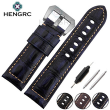 High Quality Genuine Leather Watch Strap Band 24mm Men Black Brown Blue Watchband Stainless Steel Buckle For Panerai все цены