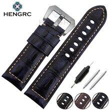 купить High Quality Genuine Leather Watch Strap Band 24mm Men Black Brown Blue Watchband Stainless Steel Buckle For Panerai по цене 989.34 рублей