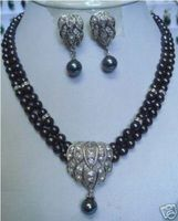 Hot selling> Beautiful Black pearl necklace earring pendant sets Bride jewelry free shipping