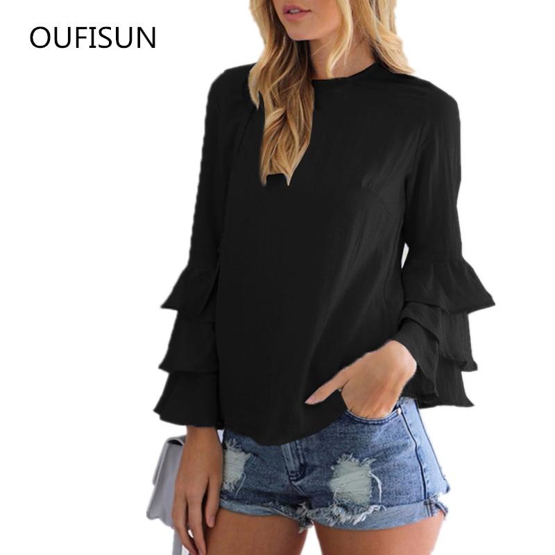 Oufisun Women Large Size Blouse Shirts Casual Long Sleeve Solid Femme Blouses Elegant Ladies Office Plus Size S-5XL Blusas Tops