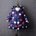 Женский дети ватные куртки детские gilrs верхняя одежда зима топ моды хлопка-ватник детей девочек мода точка пальто