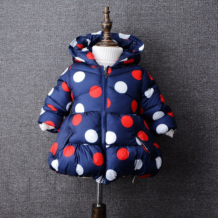 Female children wadded jacket baby gilrs outerwear winter top fashion cotton-padded jacket children girls fashion dot coat russia 2016 children outerwear baby girl winter wadded jacket girl warm thickening parkas kids fashion cotton padded coat jacket