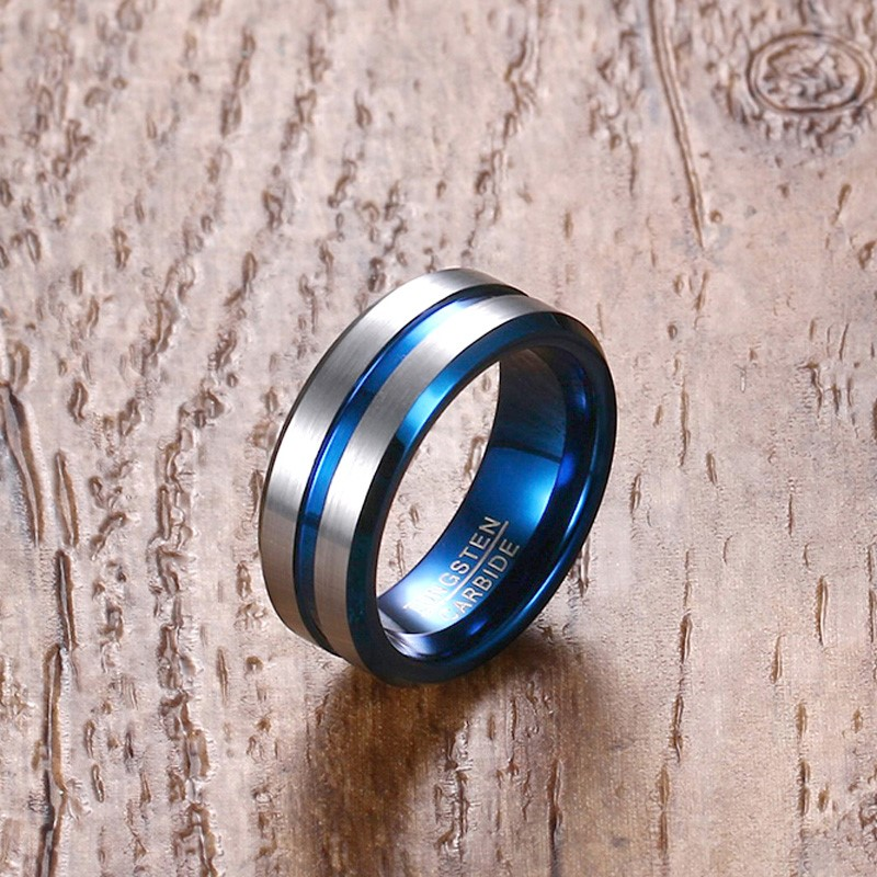 meilleure sélection b14e2 8a68b US $8.28 45% OFF|Mprainbow Men Ring Black Tungsten Carbide Wedding Bands  for Male Blue Line Groove Inner Jewelry Anillos Bague Homme anel-in ...