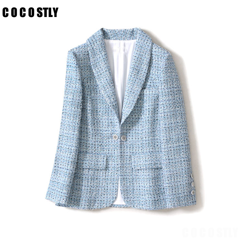 Vintage Frayed Plaid Tweed Blazers Women Blue Color Long Sleeve Pockets Women Blazers And Jackets Outerwear Casual Casaco Femme