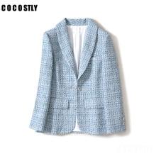 Vintage Frayed Plaid Tweed Blazers Women Blue Color Long Sleeve Pockets women bl